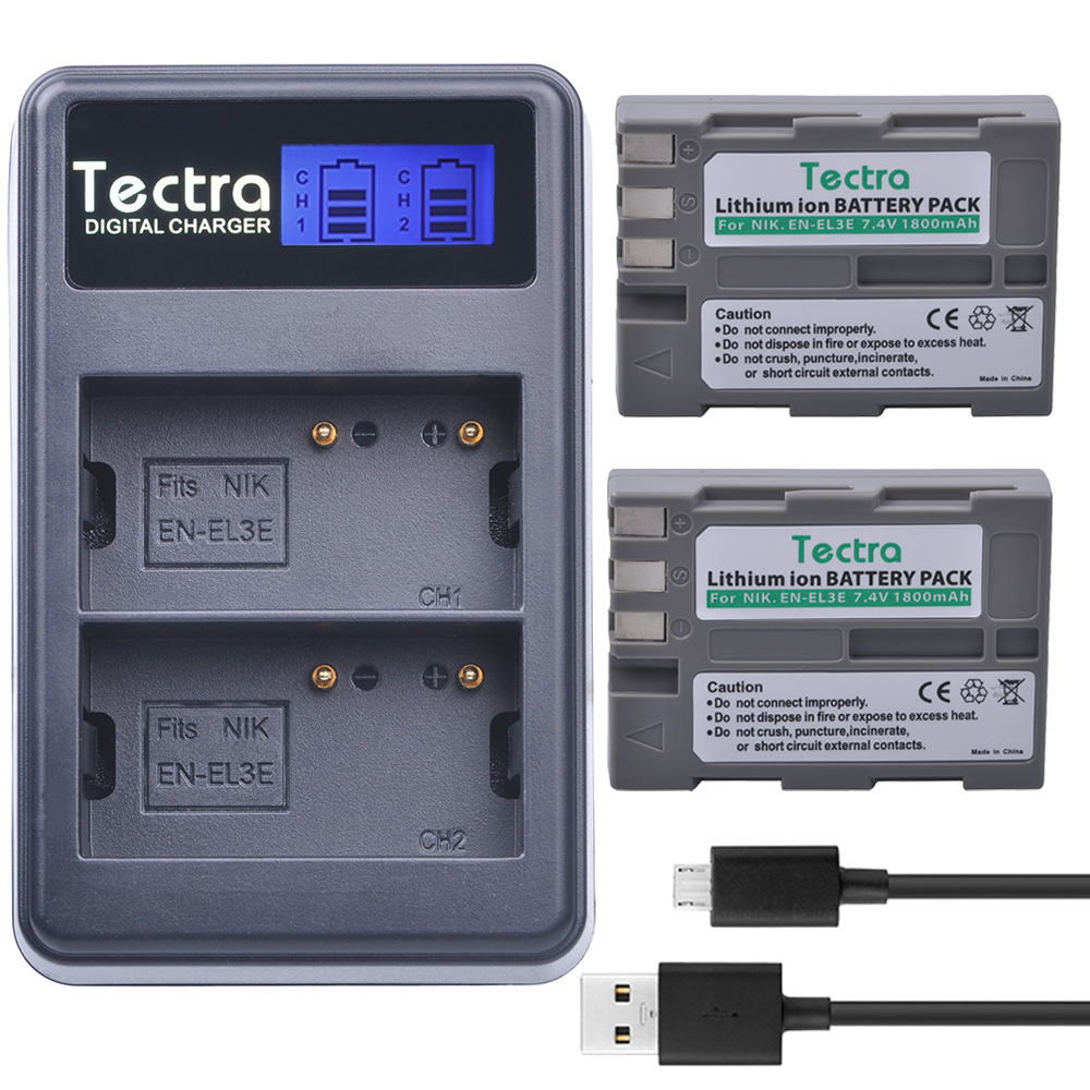 Tectra 2PCS <font><b>EN</b></font>&#8211;<font><b>EL3E</b></font> <font><b>EN</b></font> <font><b>EL3E</b></font> 1800mAh/Li-ion Camera <font><b>Battery</b></font> + LED Display USB Dual <font><b>Charger</b></font> for <font><b>Nikon</b></font> D30 D50 D70 D90 D70S D300