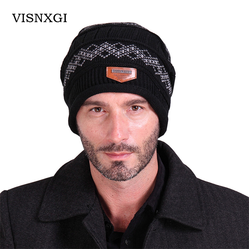 Men Skullies Casual Solid Headgear Winter Label Knitted Cap Male Wool Hat Label Cashmere Brand Keep Beanies Earmuffs Gorros M068 skullies