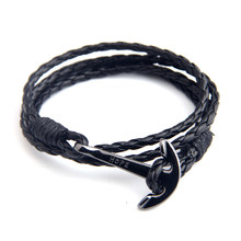 NIUYITID Mens Bracelets Leather Wristband Jewelry 40cm Length Brown PU Rope Silver Anchor Man Charm Braclet Accessories(China)