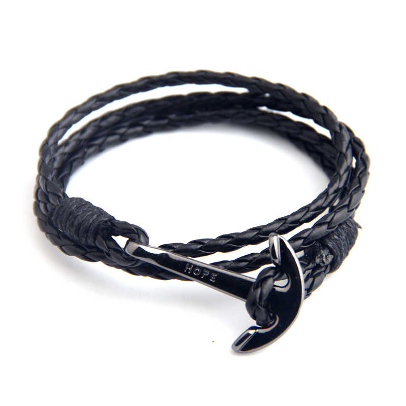 NIUYITID pulseras para hombre pulsera de cuero joyería 40cm longitud marrón PU cuerda ancla de plata hombre encanto Braclet Accesorios