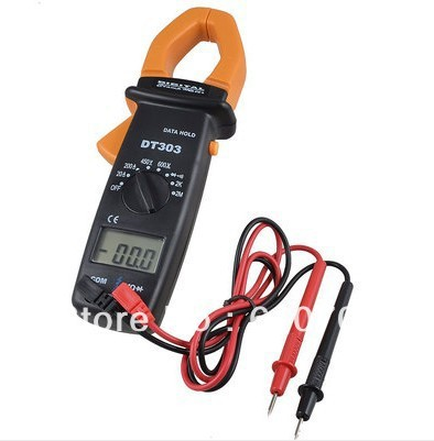 DT303 Ammeter AC/DC Voltmeter Ohmeter Diode Digital Clamp Multimeter + 2 Leads Tester Instrument Tool Portable Factory Lab Hobby dt04 2p rt01[2p dt recp asm w mur 460 diode] mr li