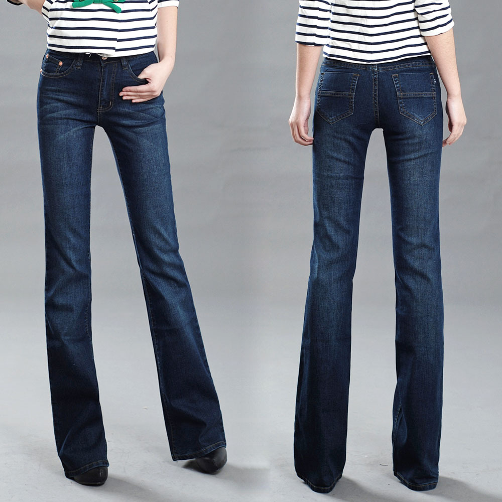 Women's slim mid waist boot cut jeans bell bottom trousers