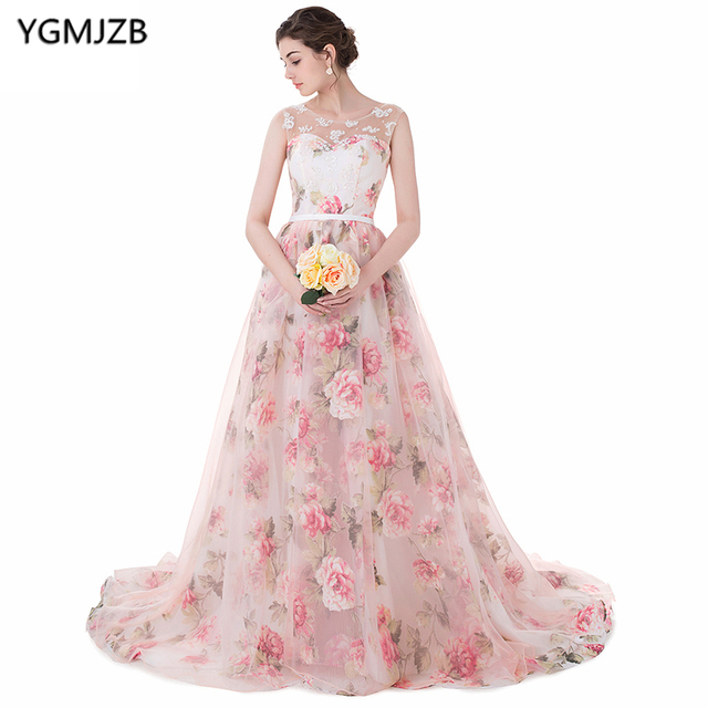 b8b7649af35 Elegant Floral Print Prom Dresses 2018 A Line Scoop Sweep Train Appliques  Lace Up Prom Gown Long Evening Dress Vestido De Festa