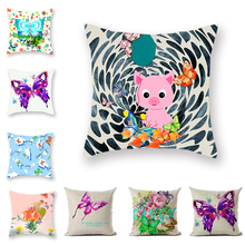 Summer Minimalist Butterfly Cushion Covers Color Printed Pillowcase 18inx18in Home Polyester Linen Decorative Plaid Pillow