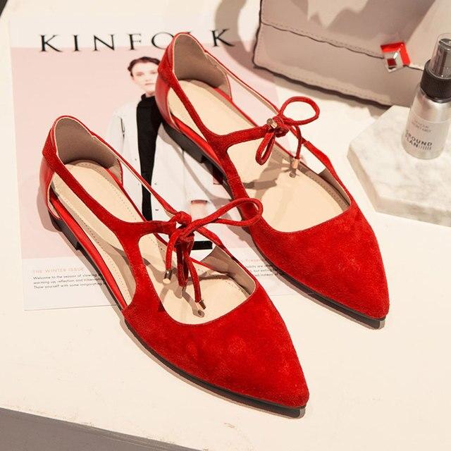 Zapatos planos de mujer de ballet pisos de gamuza con punta de gamuza Detalle de zapatos planos más el tamaño Z6jTmbfA