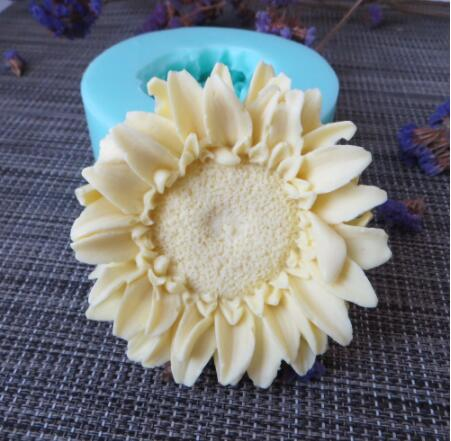 PRZY HC0090 3D molds sunflowers flowers silicone soap mold flower candle aroma mould soap making moulds resin clay molds