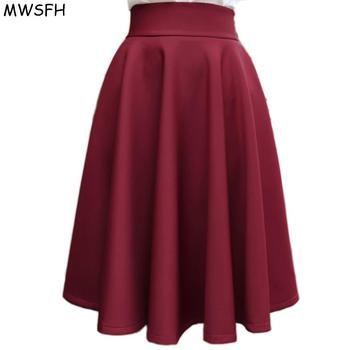 In The Autumn Winter Grown Place Umbrella Skirt Retro Waisted Body Skirt New Europe And The Code Word Pleated Skirt for Female Юбка
