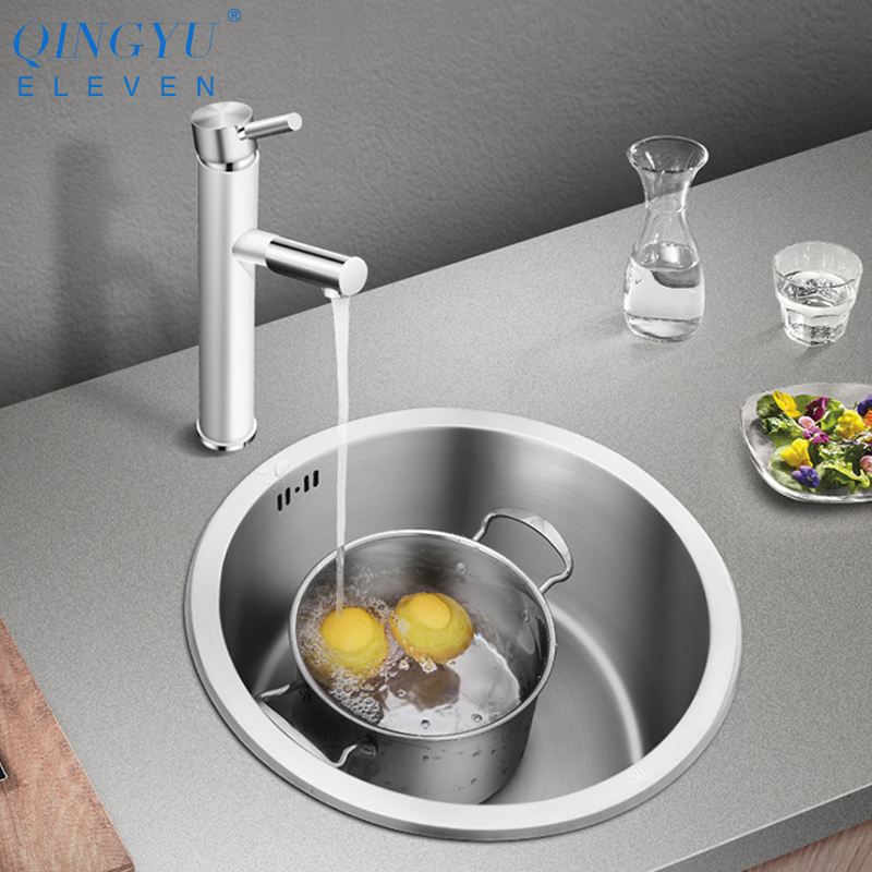 Kitchen And Bar Counter Sink 304 Stainless Steel Manual Round Dish Sink Single Kitchen Sink With Drain Pipe Free Shipping