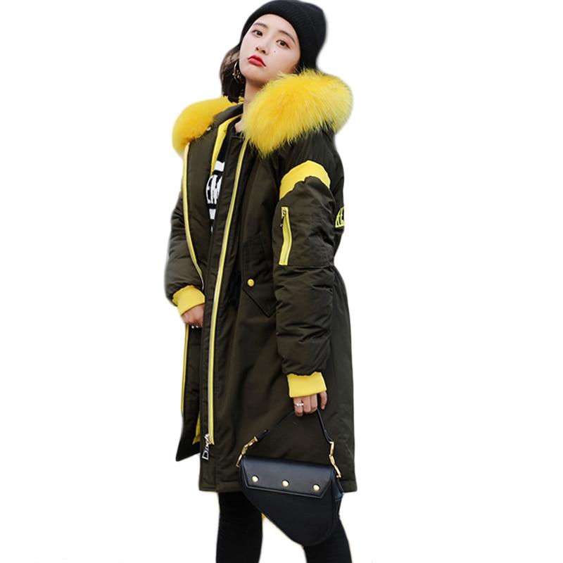 2018 Winter Long Down Jacket Women Warm Wadded   Parka   Mujer Plus Size Loose Cotton Coat Fur Collar Hooded Jackets Female CM955