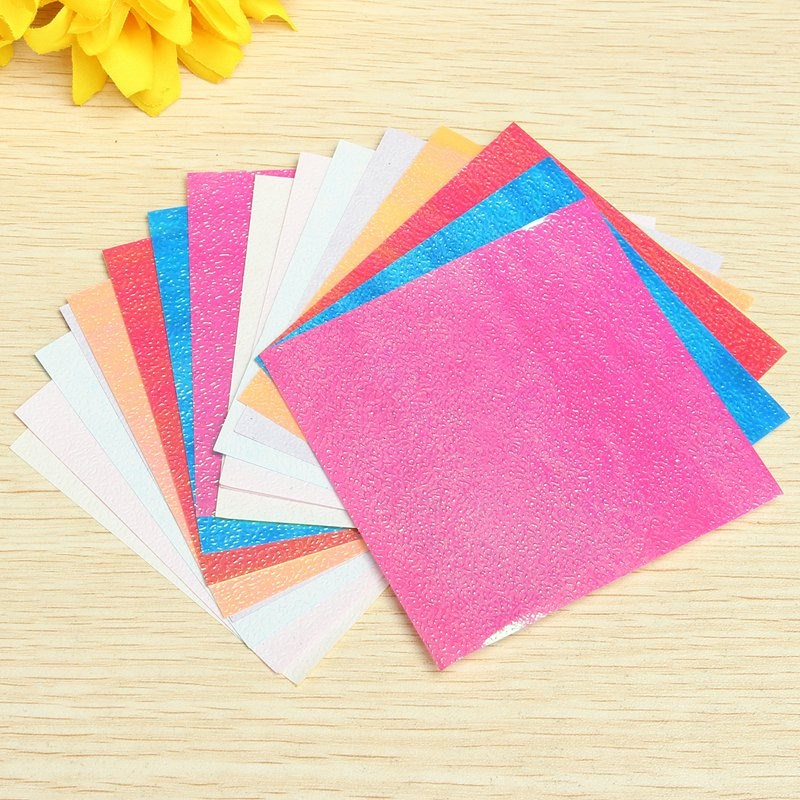 Cute 20 sheets colorful square origami folding paper solid for Diy colored paper