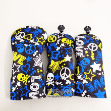 wholesale New Cooyute Golf wood headcover high quality flower Skull 135 Golf headcover Unisex Golf Clubs headcover Free shipping