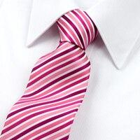 2016 Yeni Geliş Garantili % 100% İpek Kravatlar Erkekler Için Moda Marka Pembe Beyaz Şerit Kravatlar Tasarımcılar Evlilik Kravat 7 cm toptan