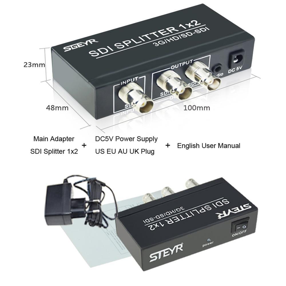SGEYR 2 Port SDI Splitter 1x2,3G/HD/SD-SDI Splitter 1 in 2 out Support 3D 1080P for SDI Camera or CCTV System DVR SDI Monitor ...