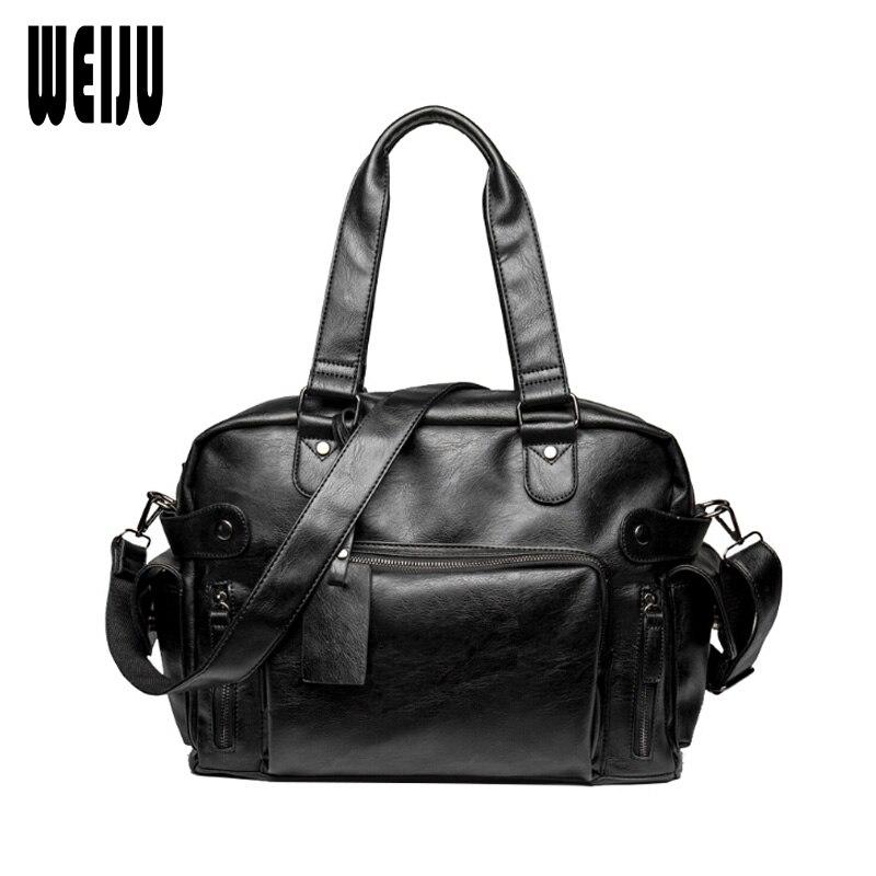 ФОТО WEIJU 2017 New Men Shoulder Messenger Bag Casual Men's Pu Leather Handbag Large Capacity Travel Bags Business Hand Bags
