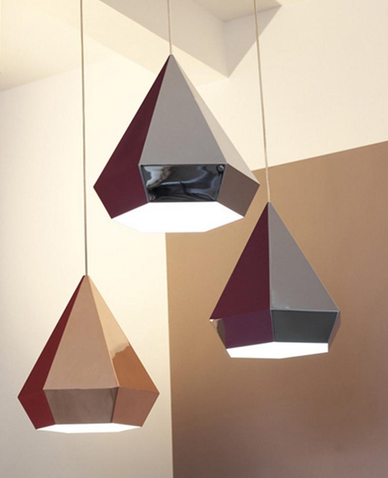 Design moderne led pendentif lumières cuisine éclairage pendentifs diamant forme pour salle à manger or