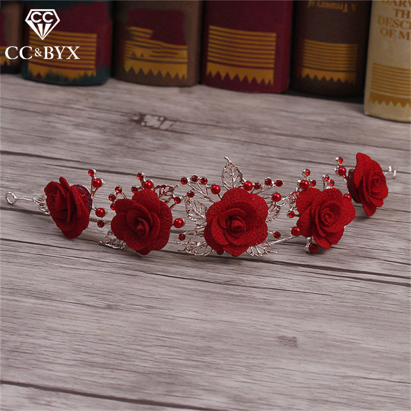 CC&BYX Romantic Tiara Hairbands Crown Bride For Women Wedding Handmade Hair Ornaments Bridal Accessories Fashion Jewelry 6517