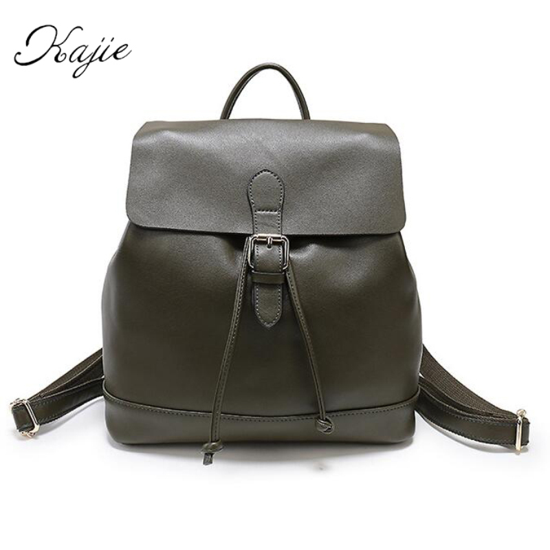 Kajie Genuine Leather Luxury Women Backpack Travel School Bags For Teenage Girls Backpack Casual Daypacks Mochilas Rope Bagpack