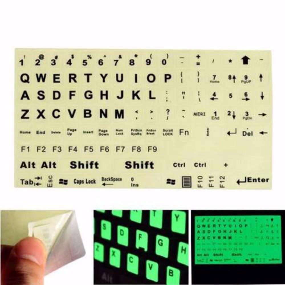 English Standard Keyboard Sticker General PC Laptop Fluorescent Keyboard Cover Luminous Full Keyboard Large Letter Sticker 1PC