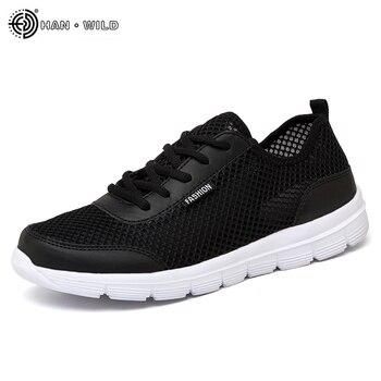 2018 Men Shoes Summer Sneakers Breathable Casual Shoes Couple Lover Fashion  Lace up Mens Mesh Flats Shoe Big Plus Size