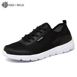 2018 homens sapatos de verão tênis respirável sapatos casuais casal amante moda rendas acima dos homens malha plana sapato grande plus size