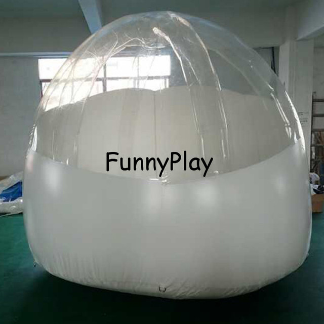 Backyard Dome inflatable lawn dome tent family half white clear roof for see the