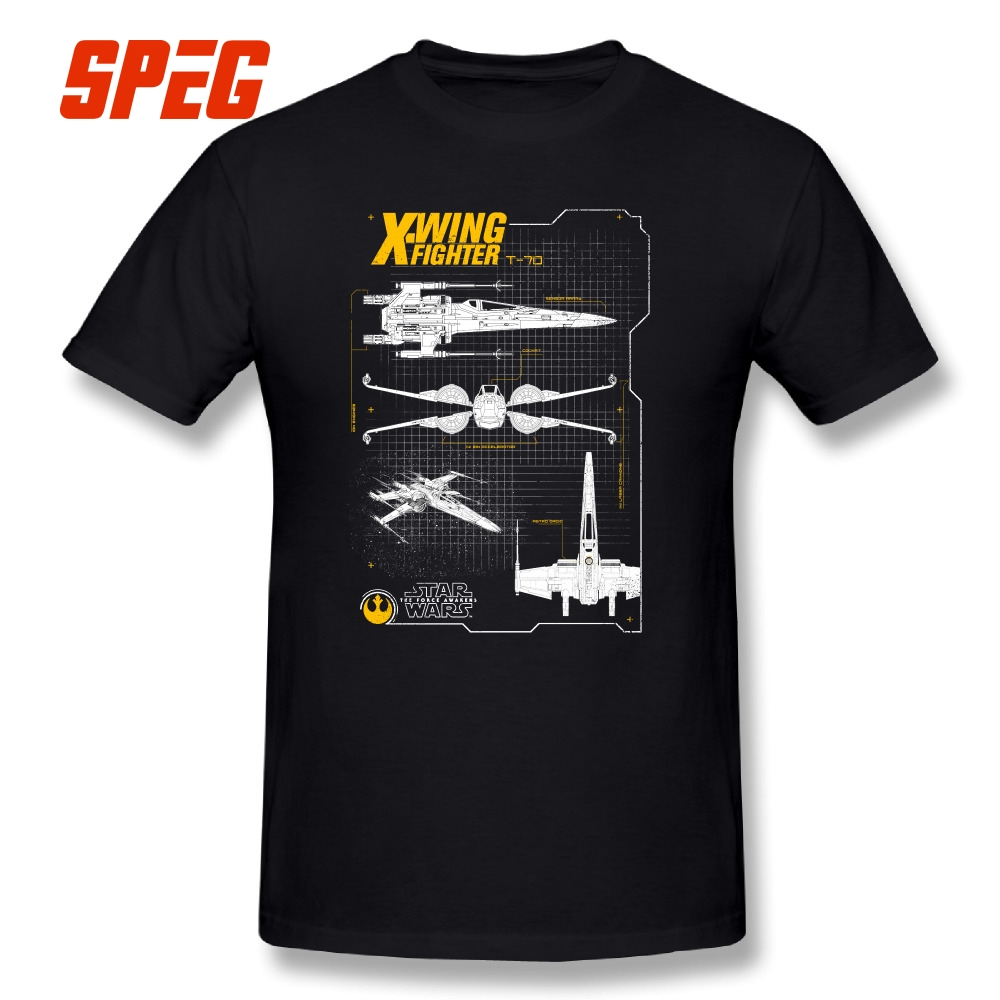 Tops Tees Men O-Neck Short Sleeve Pure Cotton Party Big Size T Shirts Star Wars Resistance X-Wing Schematic T-shirt