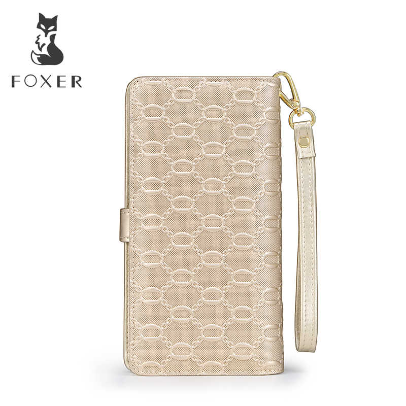 FOXER marka kadın uzun inek deri cüzdan bayanlar el çantası ünlü tasarımcı çanta kadın çanta moda kadın dana cüzdan