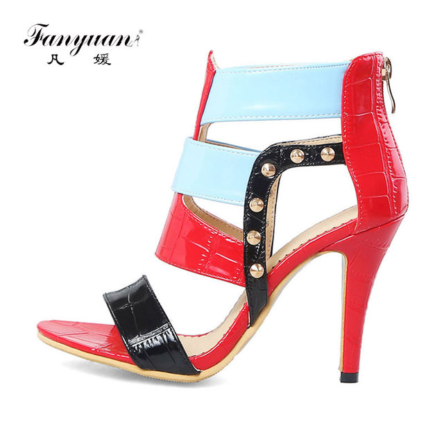 a4a6073c270f Fanyuan Plus size sex high Heels women Sandals fashion Mixed color Rivet  Gladiator Sandals Summer lady