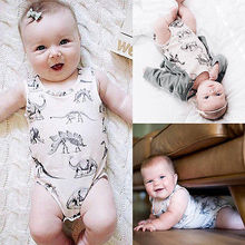 2016 Newborn Baby Girl Boy Clothes Dinosaurs Sleeveless Bodysuit Romper Outfits