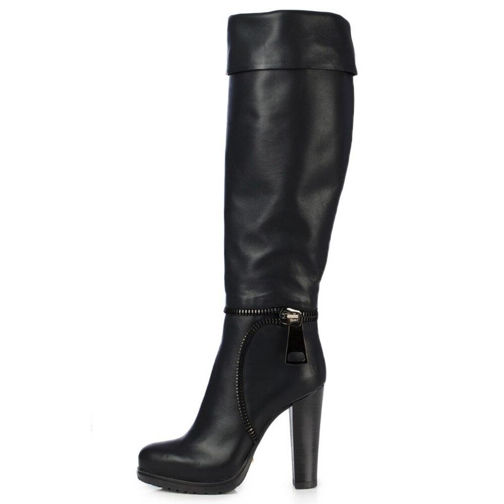 Hiver En Plate Fsj01 La Bottes Longues Femmes Dames De Noir Sexy Haute 16 Cuir Genou Chaussures Chunky Talon Fsj forme fsj02 Taille Plus Zip dnpB6qCxdw