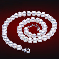 925 Silver Real Natural Big Natural Freshwater Pearl Necklace 9 10mm Super Large Particle 925 Silver