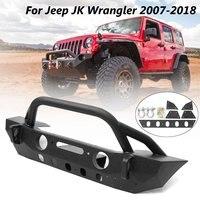 Черный Stubby металлический автомобильный передний бампер с противотуманными отверстиями для Jeep для Wrangler JK 2007 2008 2009 2010 2018