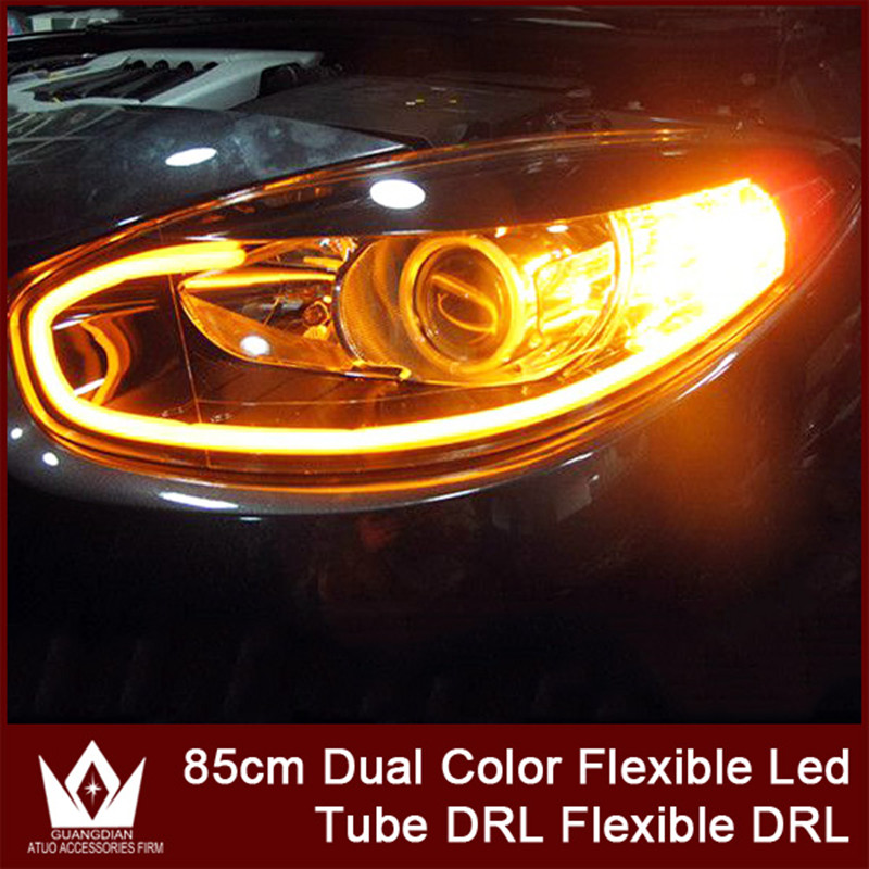 Nightlord 2pcs 85cm DRL Flexible LED Tube Strip Style Turn Signal Light Parking Lamps Daytime Running Lights Tear Strip Car Head 6pcs 60cm flexible tear strip switchback daytime running light drl with turn signal light 7 dual color fd 4767