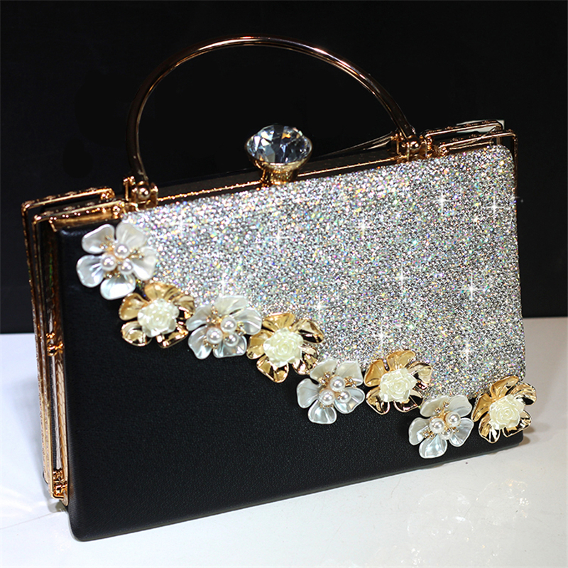 Women Crystal Luxury Totes Handbag Bridal Wedding Chain Shoulder Bag Genuine Leather Clutch Rhinestone Purse Evening