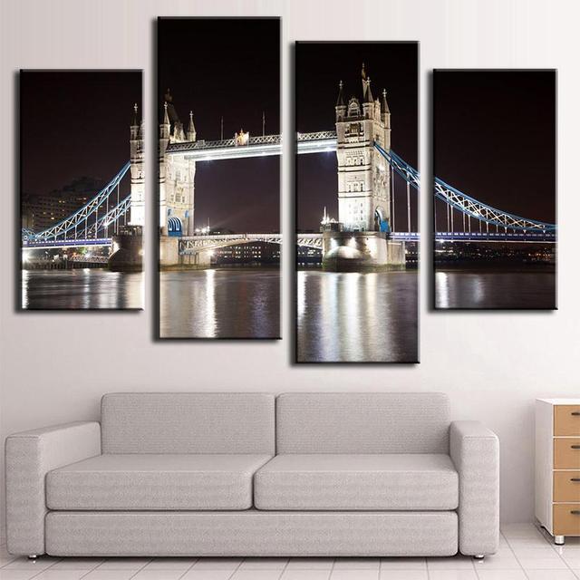 Peintures murales pont de londres toile de nuit   Ensemble de 4 pièces/ensemble, tableau dart mural moderne, décoration murale pour la maison sans cadre