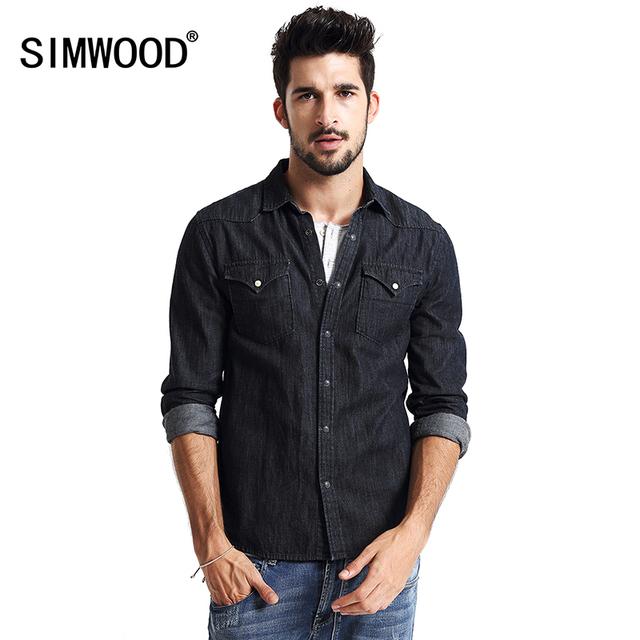 Camisa Masculina 2016 Camisa Casual Denim Chaquetas hombres Abrigos de Manga Larga de Algodón de Nueva Europa y América Moda CS1539
