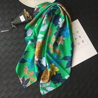 Charming Green Floral Prints 100% Silk Twill Scarf Shawl Wraps 90*90cm