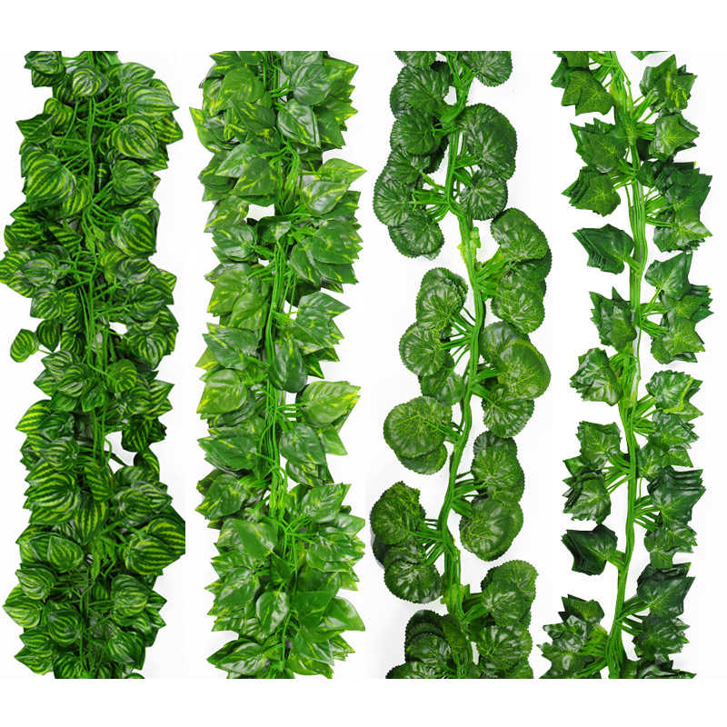 2M Long Simulation Plants Green Ivy Leaf Fake Grape Vine Artificial Flower String Foliage Leaves Home Wedding Garden Decoration