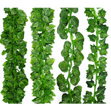 2M Long Simulation Plants Green Ivy Leaf Fake Grape Vine Artificial Flower String Foliage Leaves Home Wedding Garden Decoration(China)