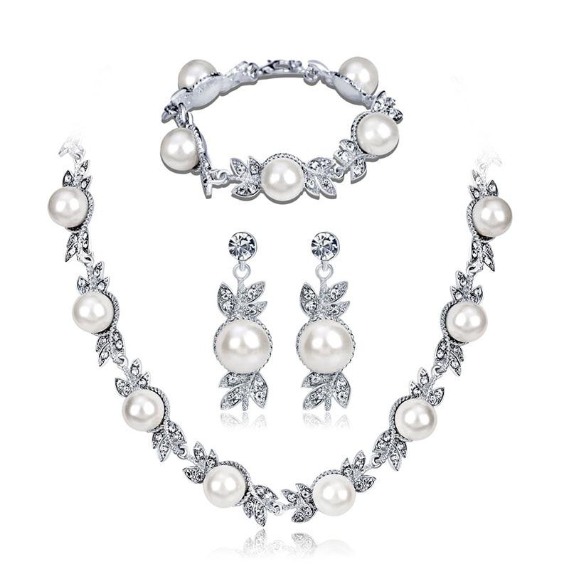 Fashion Pearl Necklace Earrings Bracelet Set Crystal Bride Wedding Jewelry Sets