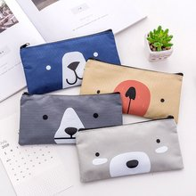 Pencil Bag Triangle Creative Cat Cartoon Canvas Case Simple Large Capacity