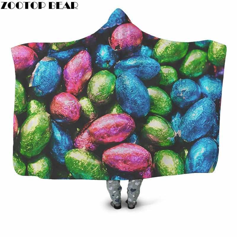 Новейший дизайн носимых одеяло с капюшоном одеяло на искусственном меху мода путешествия Молодежная кровать выход Красочные конфеты флис одеяло Горячая