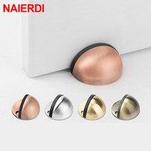 NAIERDI Stainless Steel Rubber Door Stops Non Punching Sticker Hidden Holders Catch Floor Mounted Nail-free Stop