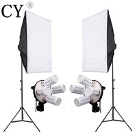 Photography Studio Soft Box Continuous Lighting Kits Light Stand 2 SoftBox With 220V E27 4 Lamp