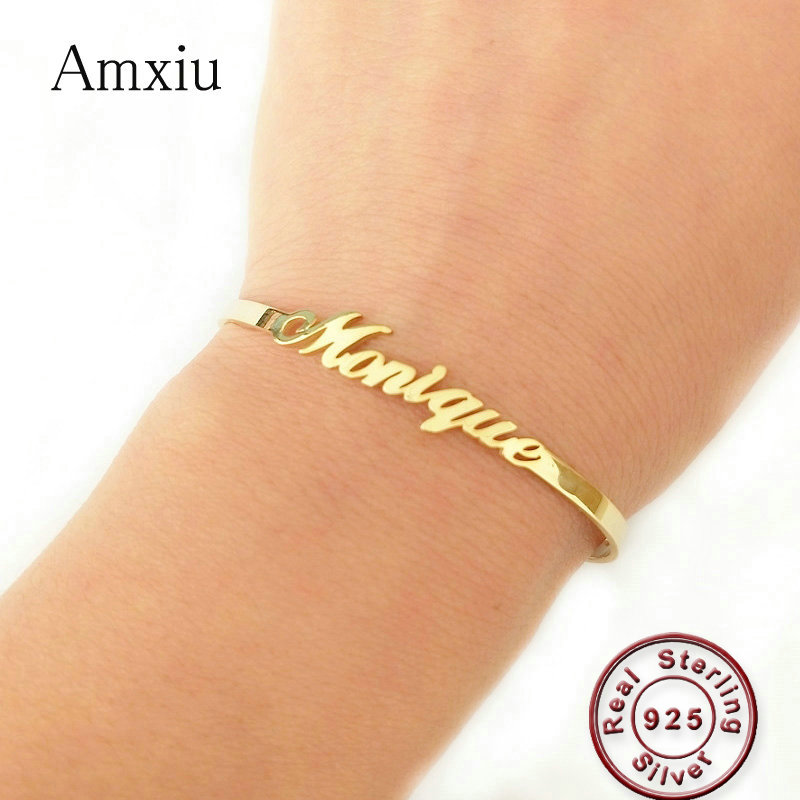 Amxiu 100% 925 Sterling Silver Adjustable Bracelet Bangle Custom Any Name Open Bangles For Women Men Birthday Gift Accessories