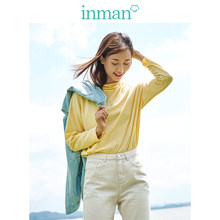 INMAN 2019 Autumn New Arrival Cotton Solid Half High Collar Casual All Matched Sport Fashion Long Sleeve Women T-shirt(China)