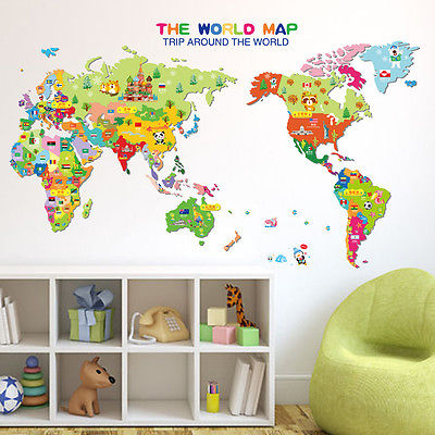 Colorful world map wall sticker decal vinyl animal cartoon wall colorful world map wall sticker decal vinyl animal cartoon wall stickers for kids rooms nursery home decor children art poster in wall stickers from home gumiabroncs Images
