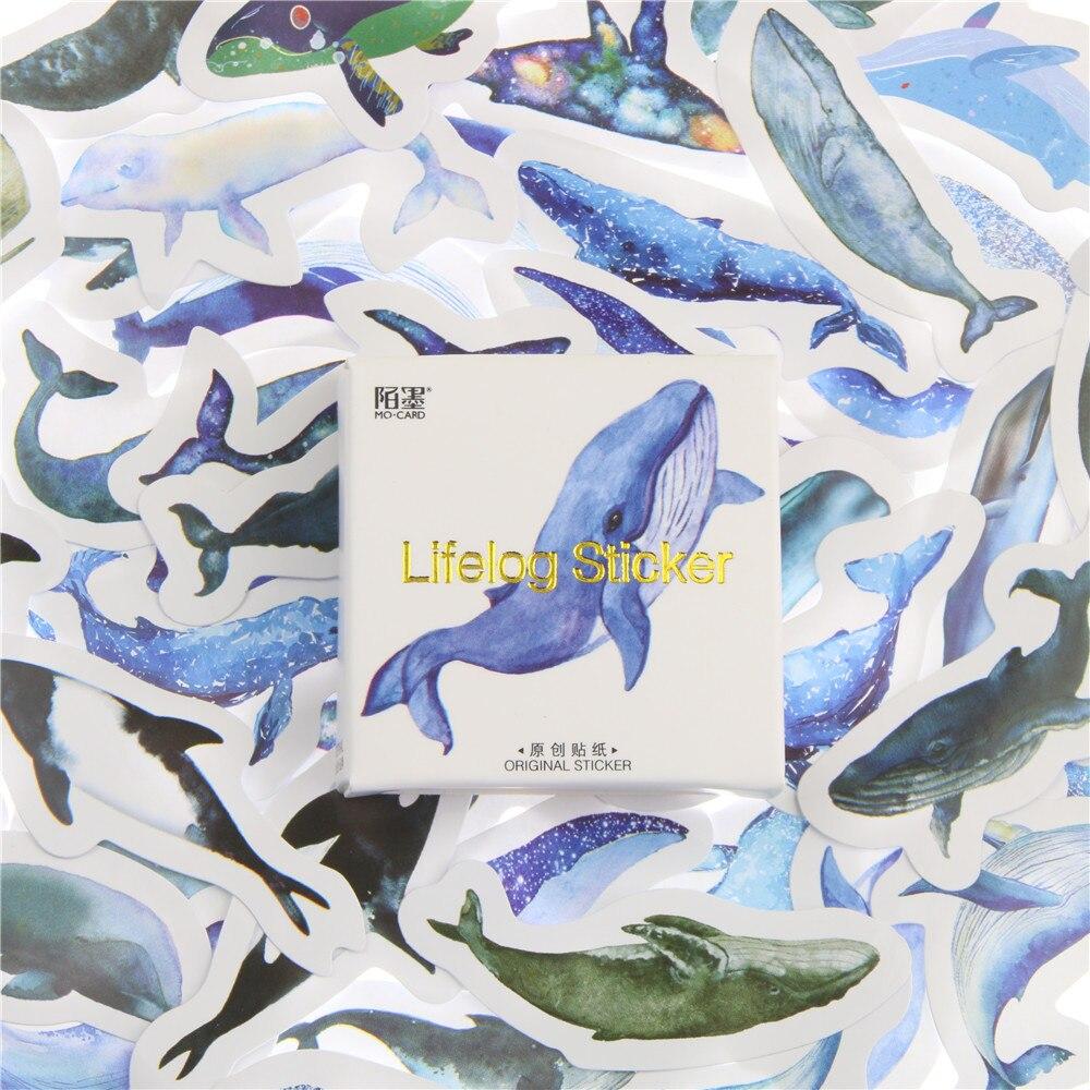 45 Pcs/pack Animal Blue Whale Fish Mini Paper Sticker Diary Decoration DIY Scrapbooking Label Seal Sticker