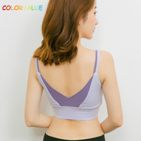 Colorvalue Sexy Back Deep V Sports Bras Women Contrast Color Padded Fitness Yoga Bras Wireless Running