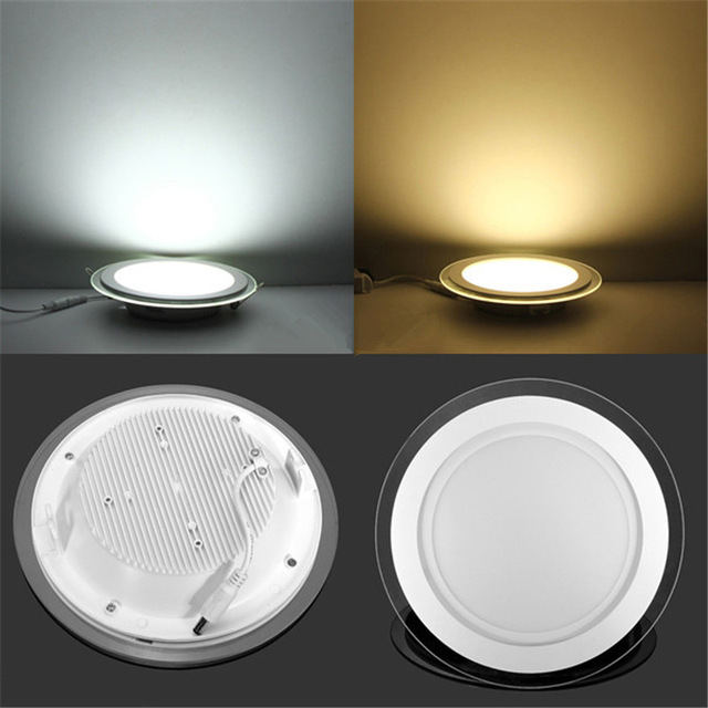 Dimmable 6W 9W 12W 18W LED Panel Downlight Round Glass Panel Lights Ceiling Recessed Lamps AC85-265V + Driver